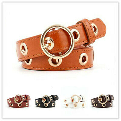 1pcs Fashion Women Hollowed-out Air Eye Waist Belt Faux Leather Buckle Waistband