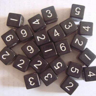 10 Pcs D6 Dice Six Sided Die Black with White Numbers for RPG Games 16mm Hot