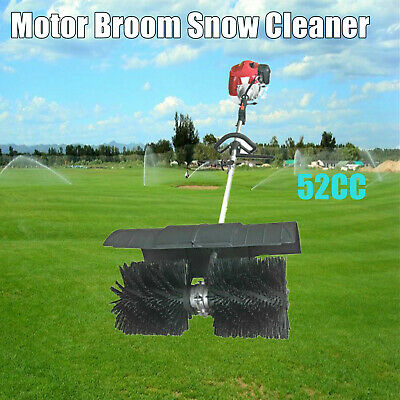 Handheld 52Cc Gas Power Sweeper Broom Driveway Turf Artificial Grass Snow Clean
