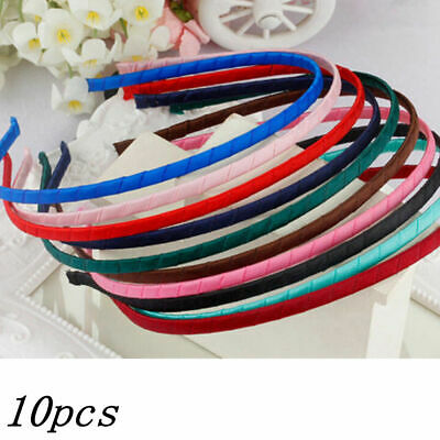 12pcs 5mm DIY Multicolor Satin Ribbon Covered Headband Metal