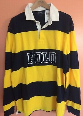 f80e867ae1fb Polo Ralph Lauren Vintage Rugby Striped Shirt XL Spell Out Stadium P-wing  Bear