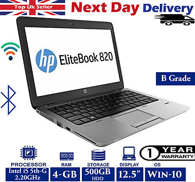 "HP EliteBook 820 G2 12.5"" Laptop Intel i5 5th-Gen 2.2Ghz 4GB RAM 500GB HDD Win10"