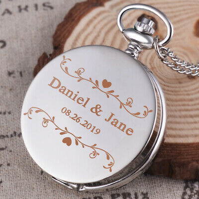 Personalised Wedding Pocket Watch with Chain Quartz Roman Dial Best Man Usher