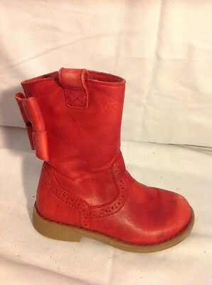 Girls M&S Red Leather Boots Size 7