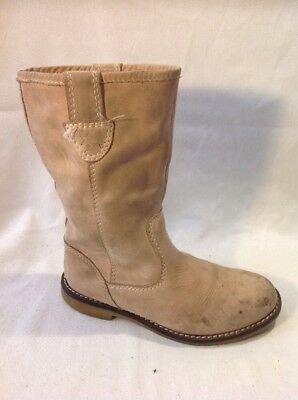 Girls Zara Brown Leather Boots Size 31