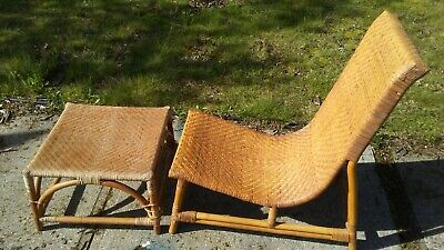 """Vintage Mid Century Bamboo Wicker Rattan 34"""" Lounge Chair & Foot Rest ottoman"""