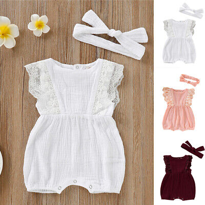 Summer Newborn Toddler Baby Girl Clothes Ruffle Romper Jumpsuit Outfit Sunsuit