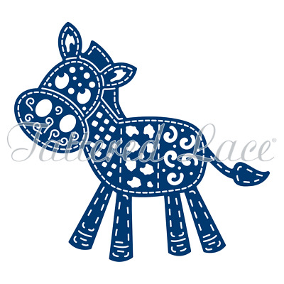 Brand New Tattered Lace Patchwork Donkey with Edge dies D1374 - 2 Die Set