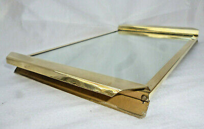 ART DECO MIRRORED TRAY with BRASS EDGE & HANDLES - 35cm long - Made by Regent