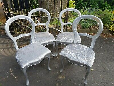 Silver Crushed Velvet french louis style  Chairs X 4  salon Delivery Available