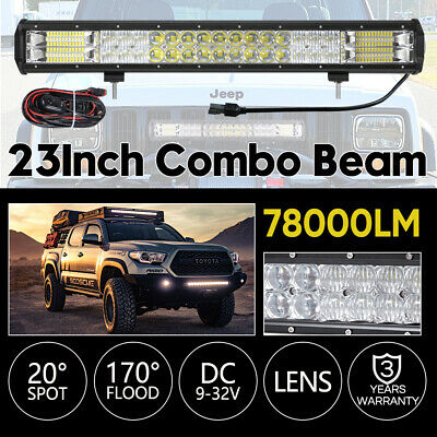23 Inch Philips Led Light Bar Spot Flood Osram 7D Offroad Driving Lamps 4WD 4x4