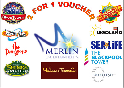 2 for 1 Merlin Attractions Voucher Alton Towers Thorpe Park SeaLife Legoland EYE