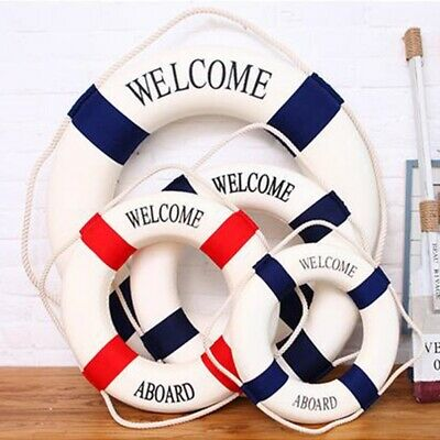Welcome Aboard Nautical Life Ring Lifebuoy Boat Wall Hanging Home Decor 14-50cm