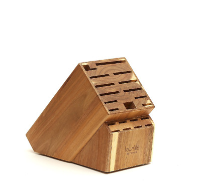 Knife Storage Block 21 Slot Universal Solid Wood Without Knives Acacia by Kuaile
