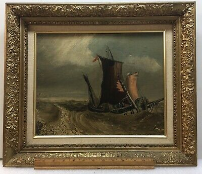 antique oil painting Nautical Seascape, 1890s With Gild Frame!