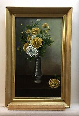 antique oil painting Floral,On Academy Board, 1890s With Frame!