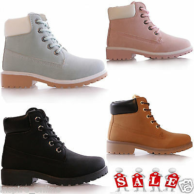 Kids Boys Girls Ankle Boots Grip Sole Winter Warm Lace Up Trainers Shoes Size
