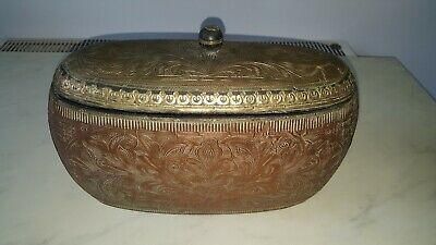 Vintage Indian Solid Wood Tea Caddy Box Copper Brass Plated Engraved 14 Inches