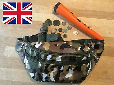 3 Compartment Light Weight metal detecting finds pouch bag camo & Free Gift