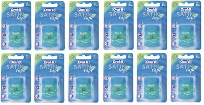 Oral-B Satin Tape Dental Floss Mint Flavour 12 x 25 Metres Expiry 07/2019 IMPORT