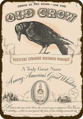 1949 Old Crow Kentucky Bourbon Whiskey Replica Metal Sign - Ask For Old Crow