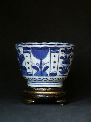Japanese antique cup Edo Old Imari blue white porcelain Sobachoko cup