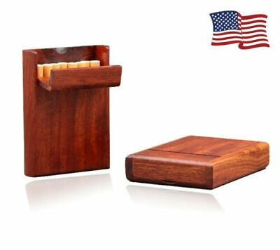 US Handmade Exquisite Cigarette Box Handcrafted Wooden Case Hold 10 Cigarettes