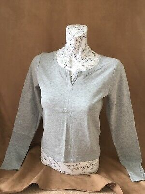 New Ladies / Girls Hollister Grey Notch Neck Crop Long Sleeved Top Size S