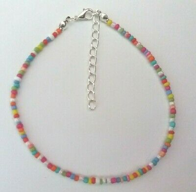 """Candy Rainbow Opaque Handmade Seed Bead Ankle Bracelet Anklet 9"""" + Extender"""