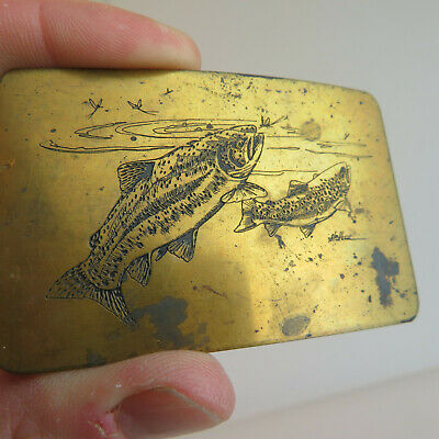 Vintage Brass Trout Fly Fishing Belt Buckle - Ampersand