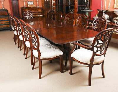 Antique Regency Revival Dining Table C1900  & 12 Bespoke Dining Chairs