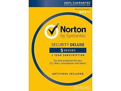 Norton by Symantec Security Deluxe - 5 Devices 1 Year Digital Key - USA / Canada