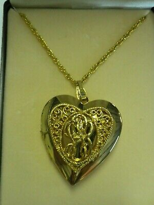 Gold Tone Heart Shaped Large Locket Necklace 18 inch Rope Chain Vintage NEW