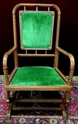 Barley Twist  Rocking Chair Antique   Platform   Green