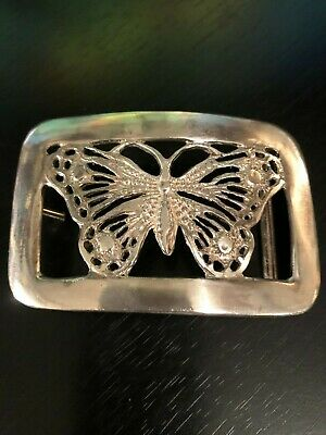 Butterfly Belt Buckle See Through Integrated Loop Silver Tone