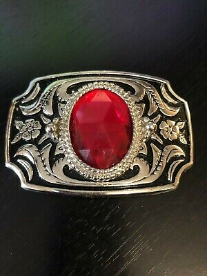Red Faceted Stone Belt Buckle Body is Black and Silver Tone USA