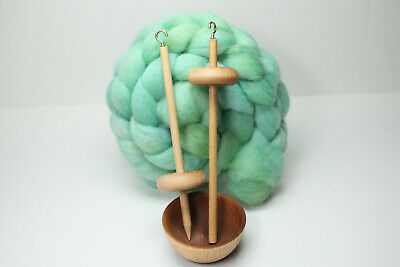 Complete Beginner Drop Spindle Spinning Kit - Mini Size Green - Learn To Spin