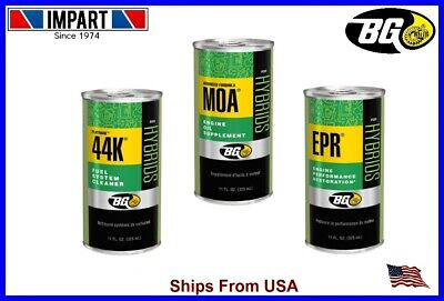 BG44K Fuel System Cleaner, MOA, EPR, (1) 11fl.oz. Can of Each. For Hybrids