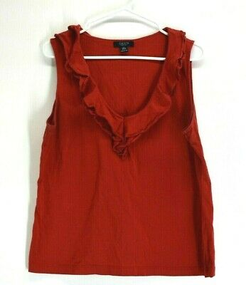 Chaps Ralph Lauren Women's XL Cotton Wide Strap Sleeveless Ruffled V-Neck Blouse