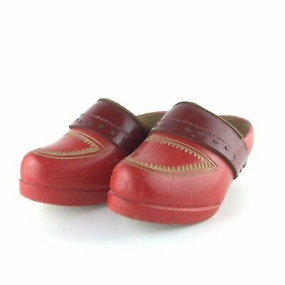 Vintage Wooden French Childs Clogs Red