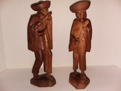 Vintage Folk Art Carved Wood Primitive Peasant Man/woman Figurines