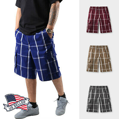 Mens Plaid Cargo Shorts Checkered Multi Pocket Pants