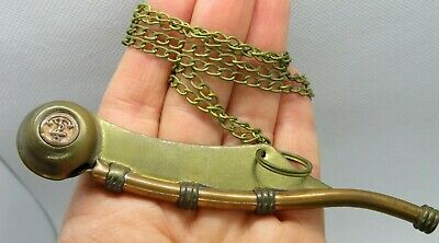 "Vintage WWII WW2 US NAVY SHIP BRASS COPPER PIPE BOSUN 4.75"" WHISTLE w/ 28"" CHAIN"