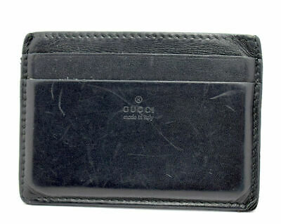 c8a77f9f0ddb Authentic Gucci Mens Leather Card Holder Wallet Black