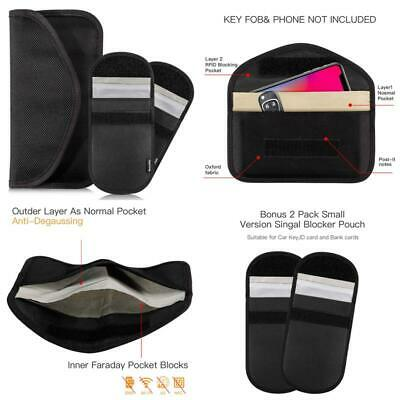 Rorchio Large Faraday Bag For Keyless Fobs Cell Phone And 2Pcs Car Key Signal Bl