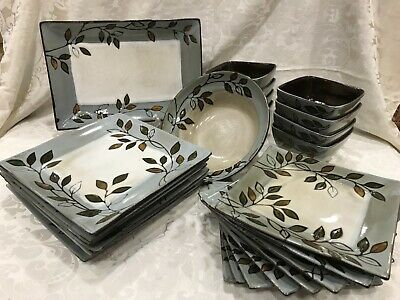"""New Set of 6  Pfaltzgraff Everyday Rustic Leaves Square Dinner Plates 10.25 1/4"""""""