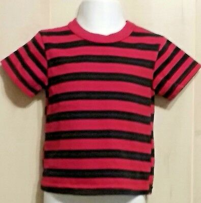 Garanimals Boys 12 Months Red Blue Striped Short Sleeve Shirt