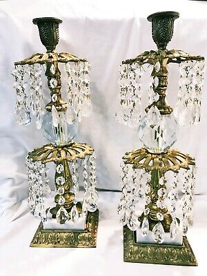 Antique Set of 2 Candle Holders Gilt Brass & Crystal with Prisms by L & L Co.