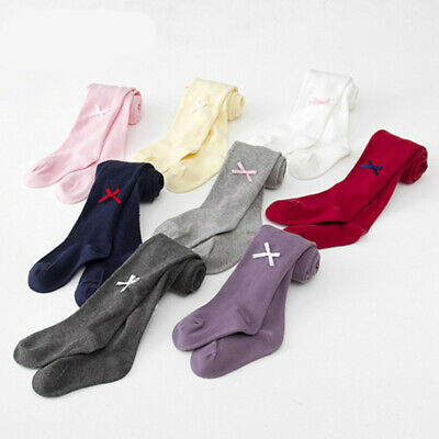 Girls Tights Baby Plain Blank Cotton Babies Newborn Toddler 0 - 8 years 8 colors