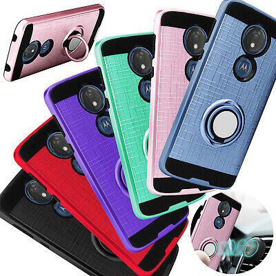 For Motorola Moto G7 Power / Supra Case Shockproof Ring Holder Stand Hard Cover